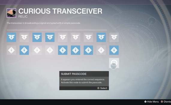 Destiny Curious Transceiver Code 1