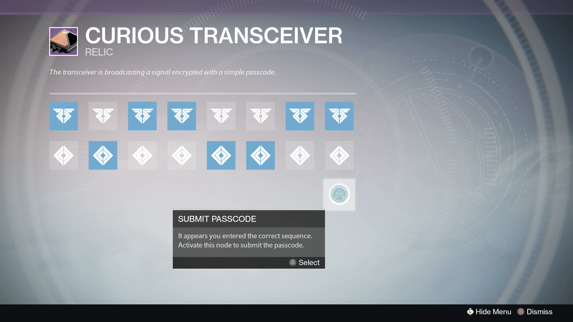 Destiny Curious Transceiver Code 2