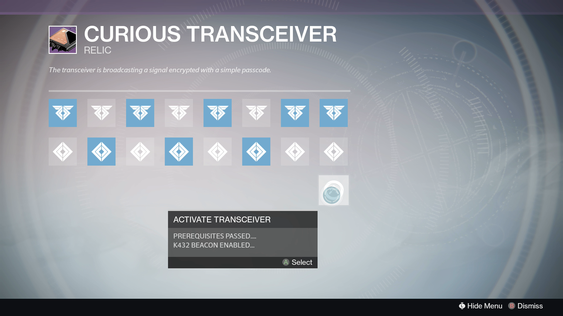 Destiny Curious Transceiver Code 4